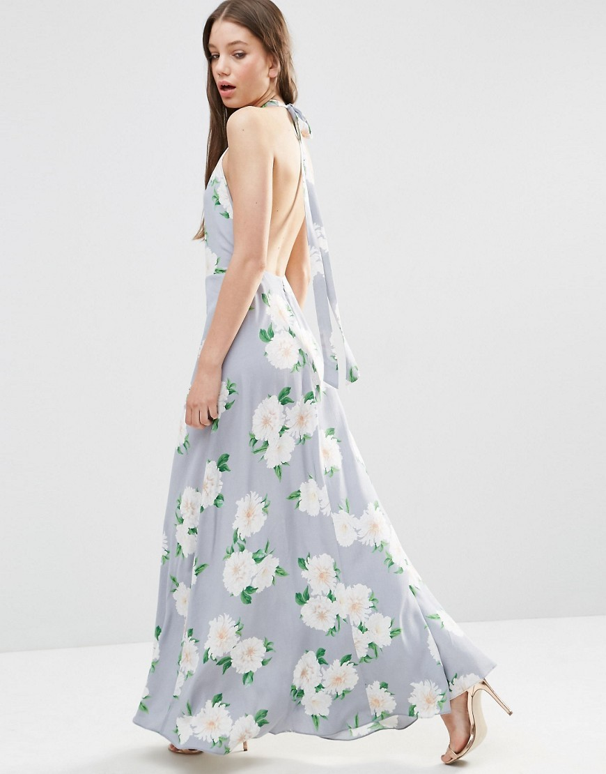 Open Back Maxi Dress In Floral Print Multi - neckline: low v-neck; sleeve style: sleeveless; style: maxi dress; secondary colour: white; predominant colour: pale blue; length: floor length; fit: body skimming; fibres: viscose/rayon - 100%; occasions: occasion; sleeve length: sleeveless; pattern type: fabric; pattern: patterned/print; texture group: other - light to midweight; season: s/s 2016; wardrobe: event