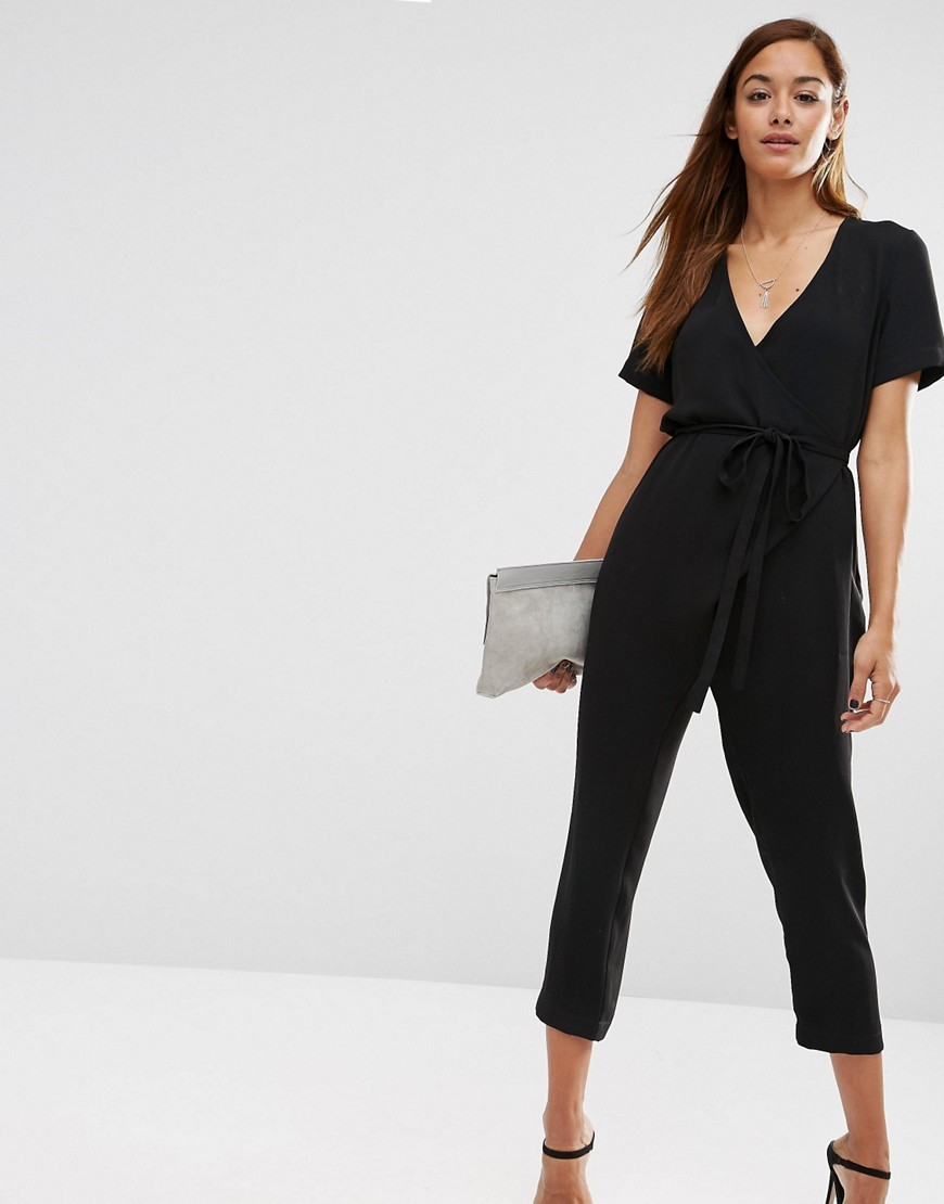 Jumpsuit With Wrap And Self Tie Black - neckline: v-neck; pattern: plain; waist detail: belted waist/tie at waist/drawstring; predominant colour: black; occasions: evening; length: calf length; fit: body skimming; fibres: polyester/polyamide - 100%; sleeve length: short sleeve; sleeve style: standard; texture group: crepes; style: jumpsuit; pattern type: fabric; season: s/s 2016; wardrobe: event