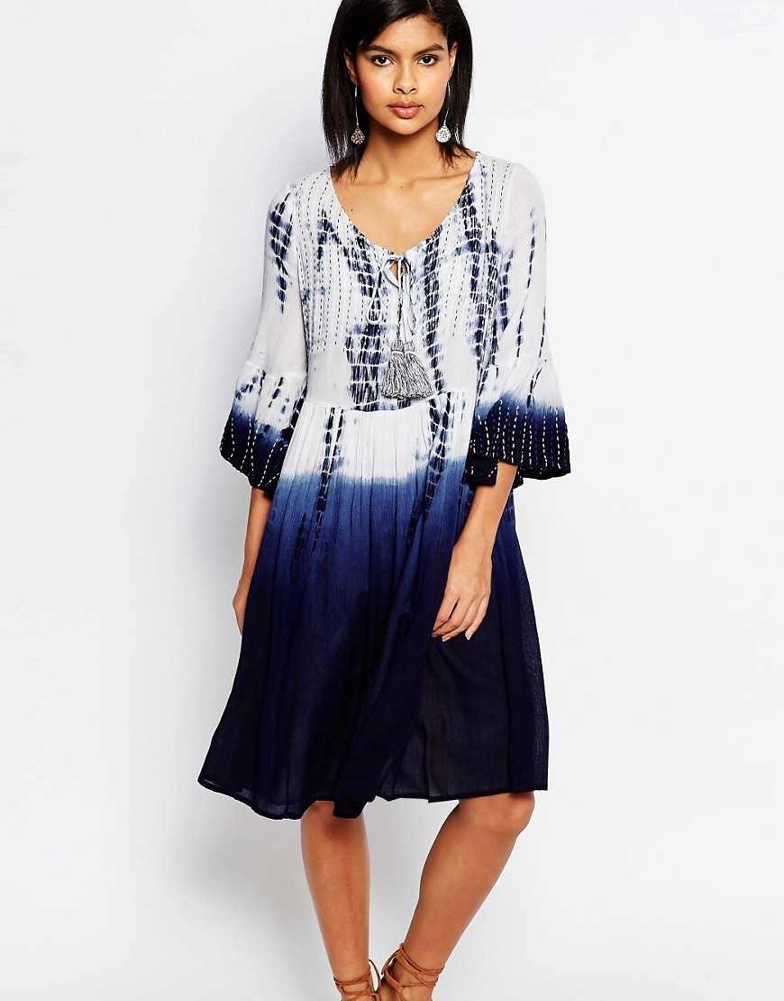 Holiday Wave Smock Dress In Tie Dye Indigo Multi - fit: loose; style: kaftan; pattern: tie dye; sleeve style: leg o mutton; predominant colour: navy; secondary colour: navy; length: on the knee; neckline: scoop; fibres: cotton - 100%; sleeve length: 3/4 length; texture group: cotton feel fabrics; occasions: holiday; pattern type: fabric; pattern size: standard; season: s/s 2016; wardrobe: holiday