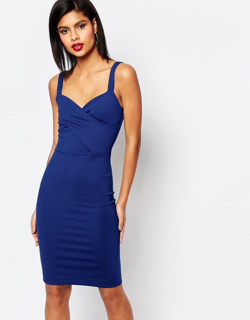 Lula Stretch Strappy Dress Blue - fit: tight; pattern: plain; sleeve style: sleeveless; style: bodycon; neckline: sweetheart; predominant colour: royal blue; occasions: evening; length: on the knee; fibres: polyester/polyamide - stretch; sleeve length: sleeveless; texture group: jersey - clingy; pattern type: fabric; season: s/s 2016; wardrobe: event