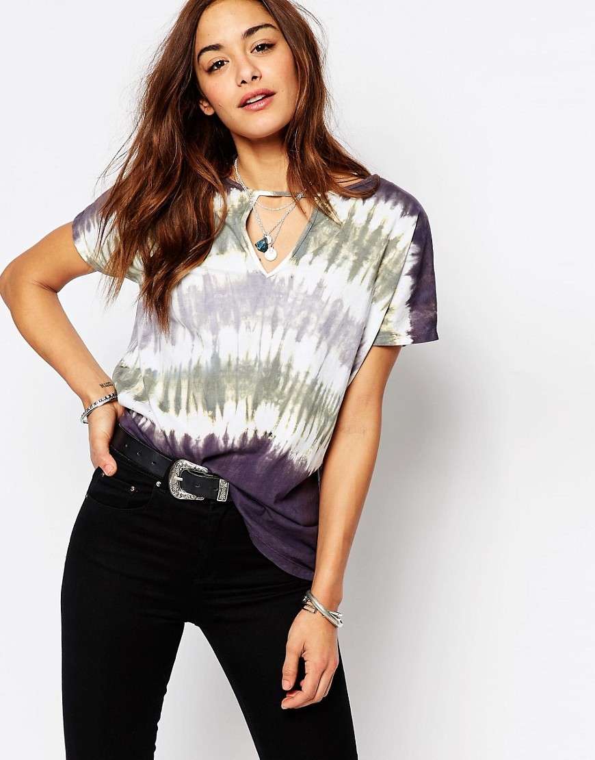 Tie Dye T Shirt With Cut Out Triangle On Front White - style: t-shirt; pattern: tie dye; predominant colour: white; secondary colour: aubergine; occasions: casual; length: standard; neckline: peep hole neckline; fibres: cotton - stretch; fit: loose; sleeve length: short sleeve; sleeve style: standard; pattern type: fabric; pattern size: standard; texture group: jersey - stretchy/drapey; multicoloured: multicoloured; season: s/s 2016; wardrobe: highlight