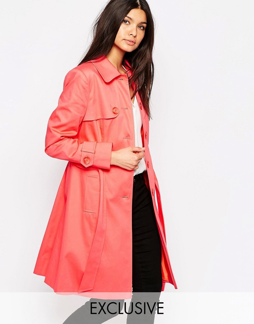 Single Breasted Classic Trench In Coral Coral - pattern: plain; style: mac; length: mid thigh; predominant colour: coral; occasions: casual, creative work; fit: straight cut (boxy); fibres: cotton - mix; collar: shirt collar/peter pan/zip with opening; sleeve length: long sleeve; sleeve style: standard; texture group: cotton feel fabrics; collar break: high; pattern type: fabric; season: s/s 2016; wardrobe: highlight