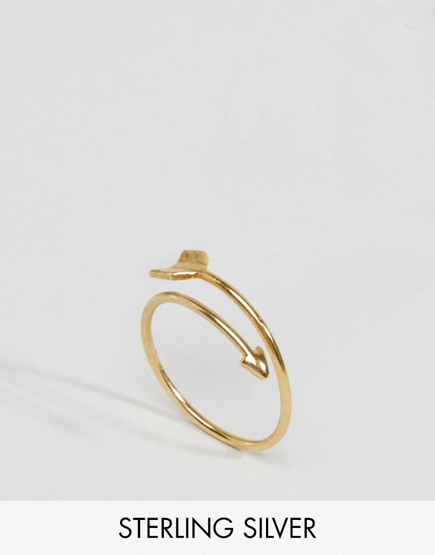Gold Plated Sterling Silver Arrow Ring Gold - predominant colour: gold; occasions: casual, creative work; style: band; size: small/fine; material: chain/metal; finish: metallic; season: s/s 2016; wardrobe: basic