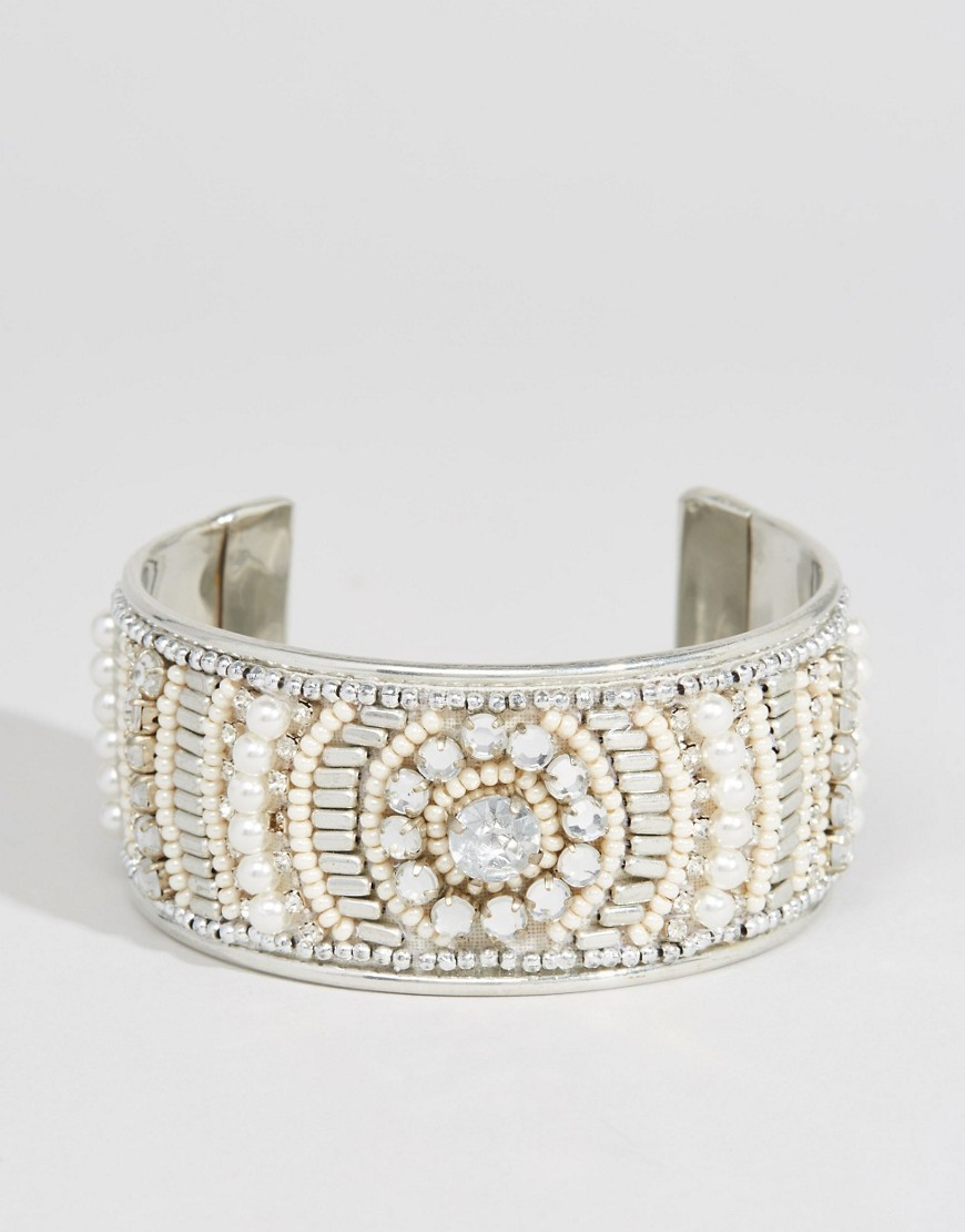 Occasion Bead Cuff Bracelet Cream - predominant colour: ivory/cream; occasions: evening, occasion; style: cuff; size: large/oversized; material: chain/metal; finish: metallic; embellishment: beading; season: s/s 2016