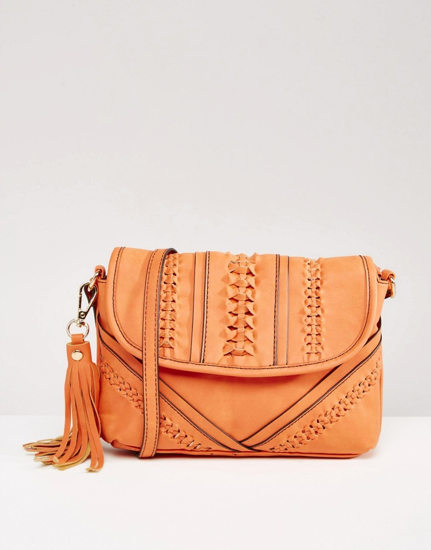 Weave Detail Cross Body Bag Coral - predominant colour: bright orange; occasions: casual, creative work; type of pattern: standard; style: saddle; length: across body/long; size: small; material: leather; pattern: plain; finish: plain; season: s/s 2016; wardrobe: highlight