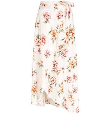 White Floral Print Wrap Front Maxi Skirt - length: below the knee; style: wrap/faux wrap; fit: loose/voluminous; waist: high rise; predominant colour: ivory/cream; fibres: viscose/rayon - 100%; occasions: occasion; hip detail: subtle/flattering hip detail; pattern type: fabric; pattern: florals; texture group: other - light to midweight; pattern size: big & busy (bottom); multicoloured: multicoloured; season: s/s 2016; wardrobe: event