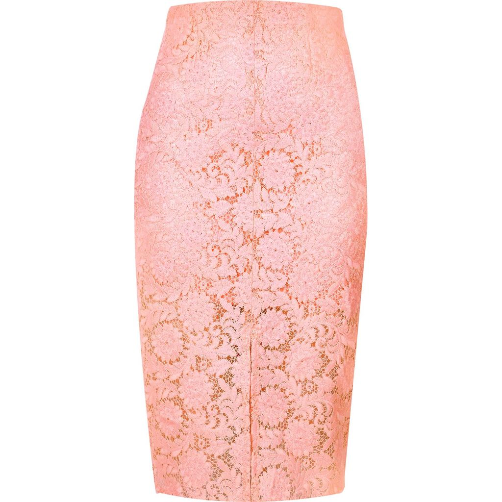 Womens. Ligh. In. Ac. Enci. Kirt. - length: below the knee; style: pencil; fit: tailored/fitted; waist: mid/regular rise; predominant colour: pink; fibres: polyester/polyamide - 100%; occasions: occasion; pattern type: fabric; pattern: patterned/print; texture group: other - light to midweight; embellishment: lace; season: s/s 2016; wardrobe: event