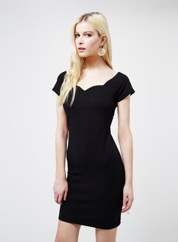 Womens Black Scallop Bodycon Dress, Black - length: mid thigh; sleeve style: capped; fit: tight; pattern: plain; style: bodycon; neckline: sweetheart; predominant colour: black; occasions: evening; fibres: polyester/polyamide - stretch; sleeve length: short sleeve; texture group: jersey - clingy; pattern type: fabric; season: s/s 2016; wardrobe: event