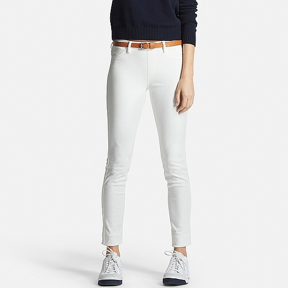 Women Leggings Trousers White - pattern: plain; waist: mid/regular rise; predominant colour: white; occasions: casual; length: ankle length; fibres: cotton - stretch; fit: slim leg; pattern type: fabric; texture group: other - light to midweight; style: standard; season: s/s 2016; wardrobe: basic