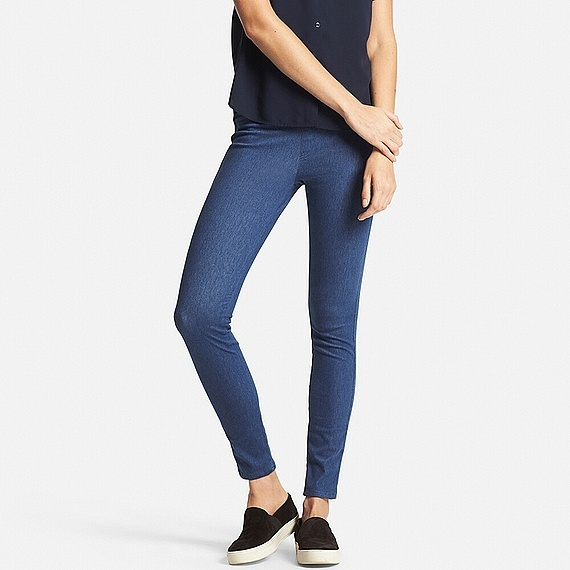 Women Leggings Trousers Blue - pattern: plain; style: leggings; waist: mid/regular rise; predominant colour: royal blue; occasions: casual, creative work; length: ankle length; fibres: cotton - mix; fit: skinny/tight leg; pattern type: fabric; texture group: other - light to midweight; season: s/s 2016; wardrobe: highlight