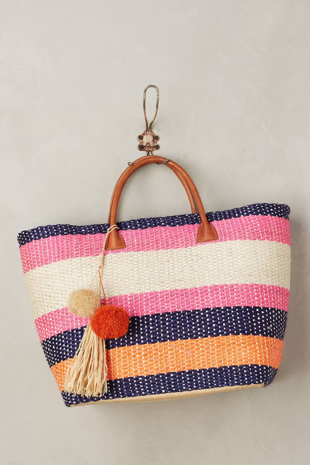 Pomaria Striped Tote Bag - secondary colour: hot pink; predominant colour: navy; occasions: casual, holiday; type of pattern: heavy; style: tote; length: hand carry; size: standard; material: macrame/raffia/straw; finish: plain; pattern: horizontal stripes; multicoloured: multicoloured; season: s/s 2016; wardrobe: highlight