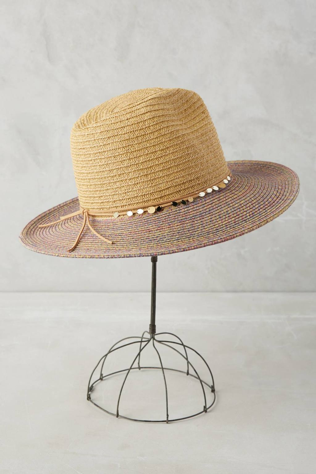 La Jolla Rancher Hat - predominant colour: camel; secondary colour: taupe; type of pattern: standard; style: brimmed; size: standard; material: macrame/raffia/straw; occasions: holiday; pattern: colourblock; embellishment: chain/metal; season: s/s 2016; wardrobe: holiday