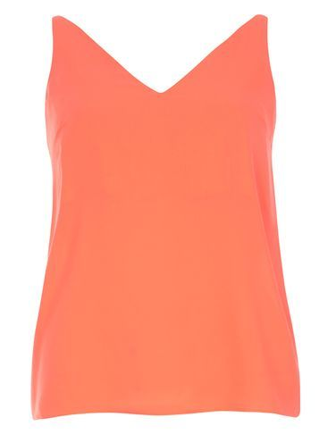 Womens Fuschia Pink V Neck Cami Top Pink - neckline: v-neck; pattern: plain; sleeve style: sleeveless; style: vest top; predominant colour: coral; occasions: casual; length: standard; fibres: polyester/polyamide - 100%; fit: body skimming; sleeve length: sleeveless; pattern type: fabric; texture group: other - light to midweight; season: s/s 2016; wardrobe: highlight