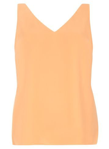 Womens Peach V Neck Camisol Top Peach - neckline: v-neck; pattern: plain; sleeve style: sleeveless; style: vest top; predominant colour: coral; occasions: casual; length: standard; fibres: polyester/polyamide - 100%; fit: body skimming; sleeve length: sleeveless; texture group: crepes; pattern type: fabric; season: s/s 2016