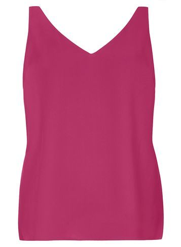 Womens Purple Deep V Neck Cami Top Purple - neckline: v-neck; pattern: plain; sleeve style: sleeveless; style: vest top; predominant colour: magenta; occasions: casual; length: standard; fibres: polyester/polyamide - 100%; fit: body skimming; sleeve length: sleeveless; pattern type: fabric; texture group: other - light to midweight; season: s/s 2016; wardrobe: highlight