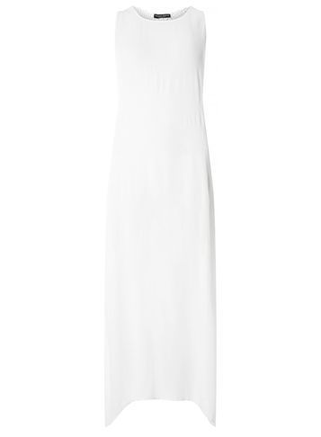 Womens White Crochet Back Beach Maxi Dress White - neckline: round neck; pattern: plain; sleeve style: sleeveless; style: maxi dress; length: ankle length; predominant colour: white; occasions: casual; fit: soft a-line; fibres: viscose/rayon - 100%; sleeve length: sleeveless; pattern type: fabric; texture group: other - light to midweight; season: s/s 2016; wardrobe: basic