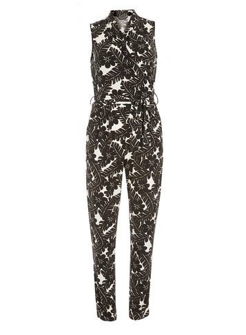 Womens Ferne Printed Jumpsuit Fl Multi - length: standard; neckline: v-neck; sleeve style: sleeveless; secondary colour: white; predominant colour: black; occasions: evening; fit: body skimming; fibres: polyester/polyamide - stretch; sleeve length: sleeveless; trends: monochrome; texture group: jersey - clingy; style: jumpsuit; pattern type: fabric; pattern size: big & busy; pattern: florals; season: s/s 2016; wardrobe: event