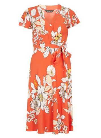 Womens Orange Floral Wrap Dress Orange - style: faux wrap/wrap; neckline: v-neck; fit: fitted at waist; waist detail: belted waist/tie at waist/drawstring; secondary colour: ivory/cream; predominant colour: bright orange; occasions: casual, creative work; length: just above the knee; fibres: viscose/rayon - 100%; sleeve length: short sleeve; sleeve style: standard; texture group: cotton feel fabrics; pattern type: fabric; pattern size: big & busy; pattern: florals; multicoloured: multicoloured; season: s/s 2016; wardrobe: highlight