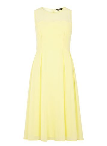 Womens Lemon Scallop Detail Midi Dress Yellow - style: shift; pattern: plain; sleeve style: sleeveless; predominant colour: primrose yellow; occasions: casual, creative work; length: just above the knee; fit: soft a-line; fibres: polyester/polyamide - 100%; neckline: crew; hip detail: soft pleats at hip/draping at hip/flared at hip; sleeve length: sleeveless; texture group: cotton feel fabrics; pattern type: fabric; season: s/s 2016; wardrobe: highlight