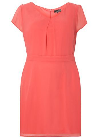 Womens **Billie & Blossom Curve Coral Chiffon Soft Dress Coral - style: shift; length: mid thigh; neckline: round neck; fit: tailored/fitted; pattern: plain; predominant colour: coral; occasions: casual, creative work; fibres: polyester/polyamide - 100%; sleeve length: short sleeve; sleeve style: standard; texture group: crepes; pattern type: fabric; season: s/s 2016; wardrobe: highlight