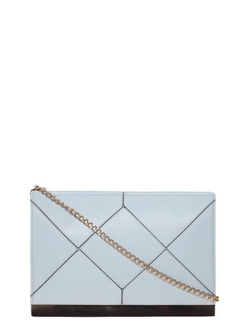 Womens Blue Panel Clutch Bag Blue - predominant colour: pale blue; secondary colour: black; occasions: evening; type of pattern: light; style: clutch; length: hand carry; size: small; material: faux leather; finish: plain; pattern: colourblock; season: s/s 2016; wardrobe: event
