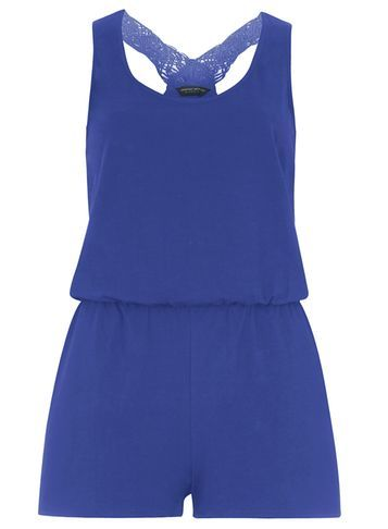 Womens Cobalt Macrame Playsuit Cobalt - sleeve style: standard vest straps/shoulder straps; pattern: plain; back detail: racer back/sports back; length: short shorts; predominant colour: royal blue; fit: body skimming; neckline: scoop; fibres: cotton - stretch; sleeve length: sleeveless; texture group: jersey - clingy; occasions: holiday; style: playsuit; pattern type: fabric; embellishment: lace; season: s/s 2016; wardrobe: holiday