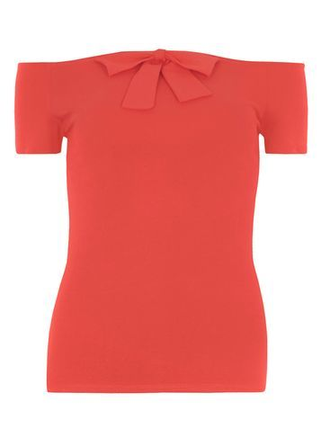 Womens Red Bow Bardot Top Red - neckline: off the shoulder; sleeve style: capped; pattern: plain; predominant colour: true red; occasions: evening; length: standard; style: top; fibres: polyester/polyamide - stretch; fit: tight; sleeve length: short sleeve; texture group: jersey - clingy; pattern type: fabric; embellishment: bow; season: s/s 2016; wardrobe: event; embellishment location: bust
