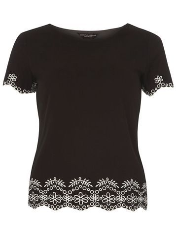Womens Black Embroidered Hem Tee Black - style: t-shirt; secondary colour: white; predominant colour: black; occasions: casual, creative work; length: standard; fibres: cotton - stretch; fit: body skimming; neckline: crew; sleeve length: short sleeve; sleeve style: standard; trends: monochrome; texture group: jersey - clingy; pattern type: fabric; pattern size: light/subtle; pattern: patterned/print; embellishment: embroidered; season: s/s 2016; wardrobe: highlight