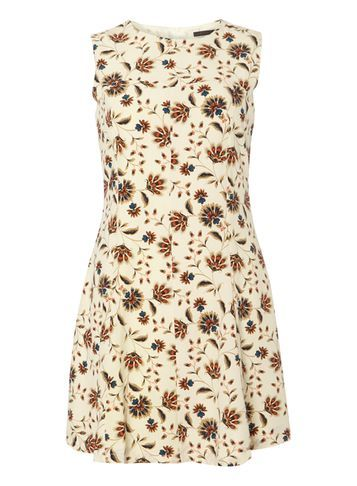 Womens **Tenki Cream Flower Print Dress Cream - style: shift; length: mini; sleeve style: sleeveless; predominant colour: ivory/cream; secondary colour: chocolate brown; fit: soft a-line; fibres: polyester/polyamide - 100%; neckline: crew; hip detail: soft pleats at hip/draping at hip/flared at hip; sleeve length: sleeveless; pattern type: fabric; pattern: patterned/print; texture group: woven light midweight; occasions: creative work; multicoloured: multicoloured; season: s/s 2016; wardrobe: highlight