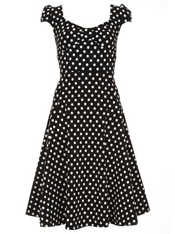 Womens **Pit Amsterdam Black Polka Dot Dress Black - secondary colour: white; predominant colour: black; occasions: evening; length: on the knee; fit: fitted at waist & bust; style: fit & flare; neckline: scoop; fibres: polyester/polyamide - stretch; sleeve length: short sleeve; sleeve style: standard; trends: monochrome; pattern type: fabric; pattern size: standard; pattern: patterned/print; texture group: other - light to midweight; season: s/s 2016; wardrobe: event