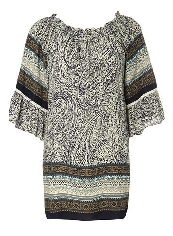 Womens *Izabel London Multi Blue Batik Print Top Blue - neckline: round neck; sleeve style: angel/waterfall; length: below the bottom; pattern: paisley; style: kaftan; secondary colour: ivory/cream; predominant colour: navy; occasions: casual; fibres: cotton - 100%; fit: straight cut; sleeve length: 3/4 length; texture group: cotton feel fabrics; pattern type: fabric; pattern size: standard; season: s/s 2016; wardrobe: highlight