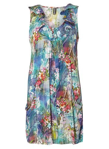 Womens **Izabel London Multi Blue Floral Tunic Dress Blue - style: shift; neckline: v-neck; sleeve style: sleeveless; secondary colour: true red; predominant colour: denim; occasions: evening; length: just above the knee; fit: body skimming; fibres: viscose/rayon - 100%; sleeve length: sleeveless; texture group: crepes; pattern type: fabric; pattern: florals; multicoloured: multicoloured; season: s/s 2016; wardrobe: event