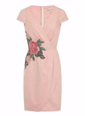 Womens *Girls On Film Blush Rose Applique Dress Pink - style: shift; neckline: low v-neck; sleeve style: capped; fit: tailored/fitted; predominant colour: pink; occasions: evening; length: just above the knee; fibres: polyester/polyamide - 100%; sleeve length: short sleeve; pattern type: fabric; pattern size: light/subtle; pattern: florals; texture group: woven light midweight; season: s/s 2016; wardrobe: event