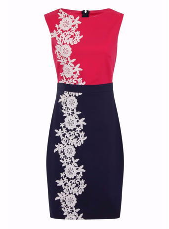 Womens **Girls On Film Pink And Navy Applique Dress Blue - style: shift; length: mid thigh; fit: tailored/fitted; sleeve style: sleeveless; predominant colour: hot pink; secondary colour: navy; fibres: cotton - mix; occasions: occasion; neckline: crew; waist detail: feature waist detail; sleeve length: sleeveless; texture group: cotton feel fabrics; pattern type: fabric; pattern size: standard; pattern: patterned/print; embellishment: embroidered; season: s/s 2016; wardrobe: event