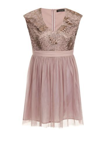Womens **Little Mistress Curve Mink Sequin Fit And Flare Dress Brown - neckline: low v-neck; sleeve style: sleeveless; predominant colour: pink; length: just above the knee; fit: fitted at waist & bust; style: fit & flare; fibres: polyester/polyamide - 100%; occasions: occasion; sleeve length: sleeveless; texture group: sheer fabrics/chiffon/organza etc.; pattern type: fabric; pattern: patterned/print; season: s/s 2016; wardrobe: event