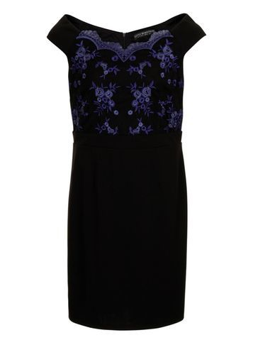 Womens **Little Mistress Curve Cobalt Floral Dress Blue - style: shift; neckline: off the shoulder; bust detail: added detail/embellishment at bust; predominant colour: navy; length: just above the knee; fit: body skimming; fibres: polyester/polyamide - 100%; occasions: occasion; sleeve length: short sleeve; sleeve style: standard; pattern type: fabric; pattern: patterned/print; texture group: woven light midweight; embellishment: lace; season: s/s 2016; wardrobe: event