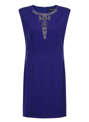 Womens **Little Mistress Curve Blue Embellished Bodycon Dress Blue - length: mini; fit: tight; pattern: plain; sleeve style: sleeveless; style: bodycon; predominant colour: royal blue; occasions: evening; fibres: polyester/polyamide - 100%; neckline: crew; sleeve length: sleeveless; texture group: jersey - clingy; pattern type: fabric; embellishment: crystals/glass; season: s/s 2016; wardrobe: event; embellishment location: bust
