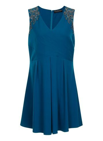 Womens *Little Mistress Curve Teal Crossover Dress Blue - neckline: v-neck; pattern: plain; sleeve style: sleeveless; predominant colour: navy; occasions: evening; length: just above the knee; fit: fitted at waist & bust; style: fit & flare; fibres: polyester/polyamide - 100%; sleeve length: sleeveless; texture group: crepes; pattern type: fabric; embellishment: embroidered; season: s/s 2016; wardrobe: event; embellishment location: shoulder