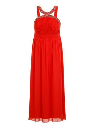 Womens **Little Mistress Curve Orange Embellished Maxi Dress Orange - neckline: round neck; fit: empire; pattern: plain; sleeve style: sleeveless; style: maxi dress; length: ankle length; bust detail: ruching/gathering/draping/layers/pintuck pleats at bust; predominant colour: bright orange; fibres: polyester/polyamide - 100%; occasions: occasion; hip detail: soft pleats at hip/draping at hip/flared at hip; waist detail: narrow waistband; sleeve length: sleeveless; texture group: sheer fabrics/chiffon/organza etc.; pattern type: fabric; embellishment: beading; season: s/s 2016; wardrobe: event
