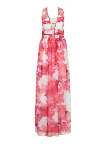 Womens **Little Mistress Curve Floral Maxi Dress Multi Colour - neckline: v-neck; fit: fitted at waist; sleeve style: sleeveless; style: maxi dress; predominant colour: pink; length: floor length; fibres: polyester/polyamide - 100%; occasions: occasion; sleeve length: sleeveless; texture group: sheer fabrics/chiffon/organza etc.; pattern type: fabric; pattern size: big & busy; pattern: florals; season: s/s 2016; wardrobe: event