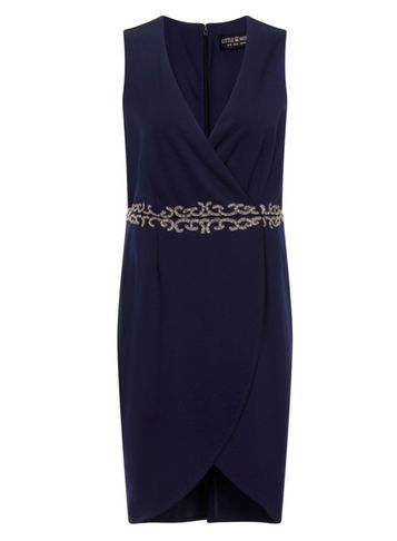 Womens *Little Mistress Curve Navy Crossover Dress Blue - style: faux wrap/wrap; neckline: v-neck; fit: fitted at waist; pattern: plain; sleeve style: sleeveless; predominant colour: navy; length: just above the knee; fibres: polyester/polyamide - 100%; occasions: occasion; sleeve length: sleeveless; pattern type: fabric; texture group: jersey - stretchy/drapey; embellishment: beading; season: s/s 2016; wardrobe: event; embellishment location: waist