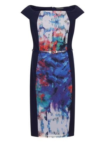 Womens **Little Mistress Curve Bardot Dress Multi Colour - style: shift; neckline: slash/boat neckline; sleeve style: capped; fit: tailored/fitted; predominant colour: royal blue; length: on the knee; fibres: polyester/polyamide - 100%; occasions: occasion; sleeve length: short sleeve; pattern type: fabric; pattern size: standard; pattern: florals; texture group: other - light to midweight; multicoloured: multicoloured; season: s/s 2016
