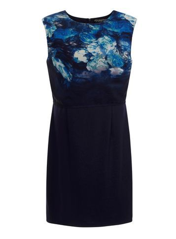 Womens *Little Mistress Curve Body Con Dress Multi Colour - style: shift; length: mid thigh; fit: tailored/fitted; sleeve style: sleeveless; predominant colour: navy; secondary colour: black; fibres: polyester/polyamide - 100%; occasions: occasion; neckline: crew; sleeve length: sleeveless; pattern type: fabric; pattern size: standard; pattern: patterned/print; texture group: woven light midweight; multicoloured: multicoloured; season: s/s 2016; wardrobe: event