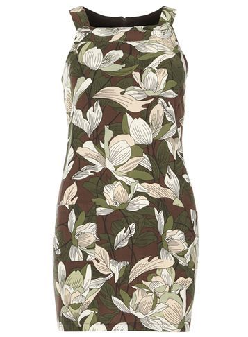 Womens Petite Chocolate Floral Pinny Dress Brown - style: shift; length: mid thigh; fit: tight; sleeve style: sleeveless; secondary colour: chocolate brown; predominant colour: khaki; occasions: evening; fibres: viscose/rayon - 100%; sleeve length: sleeveless; texture group: jersey - clingy; neckline: medium square neck; pattern type: fabric; pattern: patterned/print; season: s/s 2016; wardrobe: event