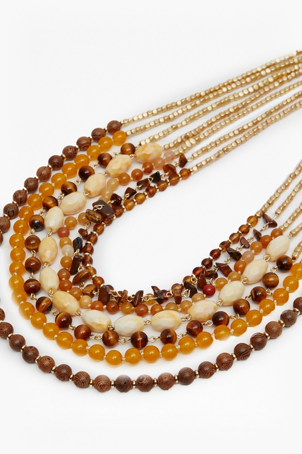 Multi Row Beaded Necklace Matte Gold/Saffron Multi - predominant colour: chocolate brown; secondary colour: camel; occasions: casual; style: multistrand; length: long; size: large/oversized; material: plastic/rubber; finish: plain; embellishment: beading; multicoloured: multicoloured; season: s/s 2016; wardrobe: highlight