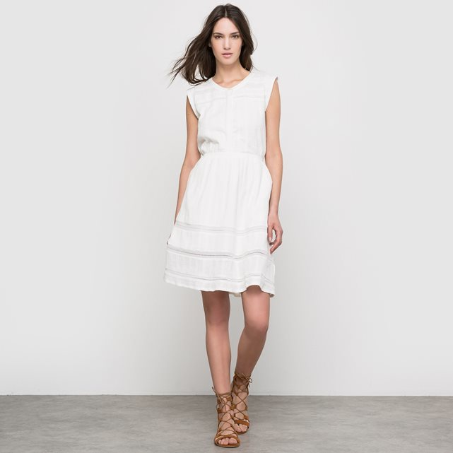 Embroidered Sleeveless Cotton Blend Dress - pattern: plain; sleeve style: sleeveless; waist detail: belted waist/tie at waist/drawstring; predominant colour: ivory/cream; occasions: casual; length: just above the knee; fit: fitted at waist & bust; style: fit & flare; fibres: cotton - 100%; neckline: crew; sleeve length: sleeveless; texture group: cotton feel fabrics; pattern type: fabric; embellishment: embroidered; season: s/s 2016; wardrobe: highlight