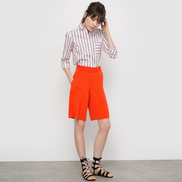 Softly Draping Bermuda Shorts - pattern: plain; waist: high rise; predominant colour: bright orange; occasions: casual, creative work; fibres: polyester/polyamide - 100%; pattern type: fabric; texture group: woven light midweight; season: s/s 2016; style: culotte; length: just above the knee; fit: a-line; wardrobe: highlight