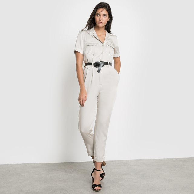 Jumpsuit - neckline: v-neck; fit: fitted at waist; pattern: plain; predominant colour: stone; occasions: casual, creative work; length: ankle length; fibres: polyester/polyamide - 100%; sleeve length: short sleeve; sleeve style: standard; texture group: crepes; style: jumpsuit; pattern type: fabric; season: s/s 2016; wardrobe: highlight