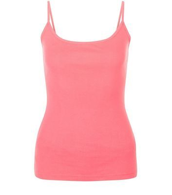 Bright Pink Scoop Neck Cami - sleeve style: spaghetti straps; pattern: plain; style: camisole; predominant colour: pink; occasions: casual; length: standard; neckline: scoop; fibres: cotton - stretch; fit: body skimming; sleeve length: sleeveless; pattern type: fabric; texture group: jersey - stretchy/drapey; season: s/s 2016; wardrobe: highlight