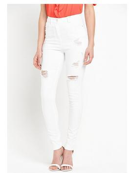 High Waisted Ripped Skinny Jeans - style: skinny leg; length: standard; pattern: plain; pocket detail: traditional 5 pocket; waist: mid/regular rise; predominant colour: white; occasions: casual, creative work; fibres: cotton - stretch; texture group: denim; pattern type: fabric; jeans detail: rips; season: s/s 2016; wardrobe: highlight